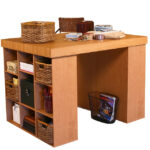 Oak Project Center with 2 Bookcases 1148-33OA