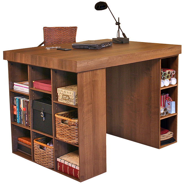 Walnut Project Center with 1 Bookcase & 3 Bin Cabinet
