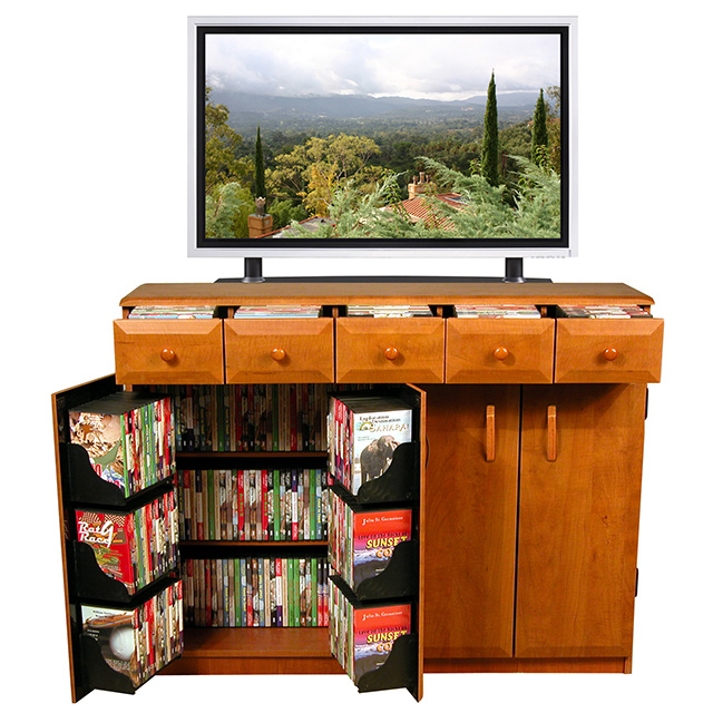 Cherry Multimedia Cabinet With Drawers