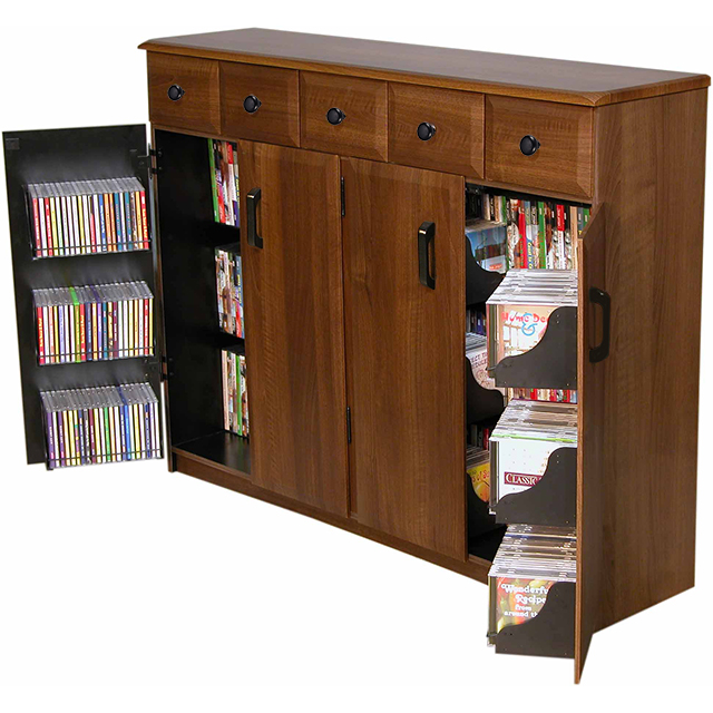 Venture Horizon Media Cabinet With Drawers Holds Hdtv Dvds Cds