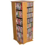 Oak Revolving Media Tower Medium-900