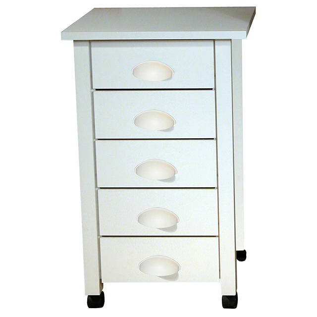 White 5 Drawer Mobile Cart