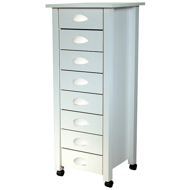 White 8 Drawer Mobile Cart