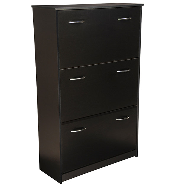 Black Triple Shoe Cabinet Closed 4242-21BL