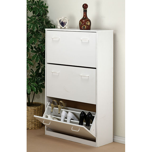 White Triple Shoe Cabinet 4240 11WH
