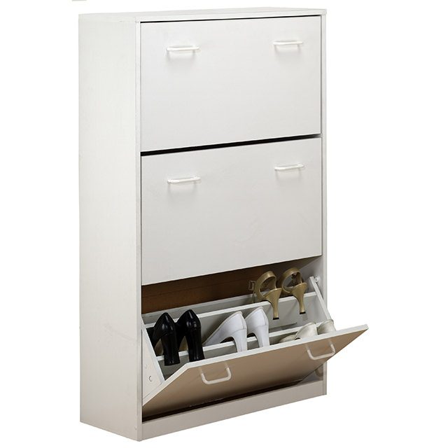 White Triple Shoe Cabinet 4240-11WH