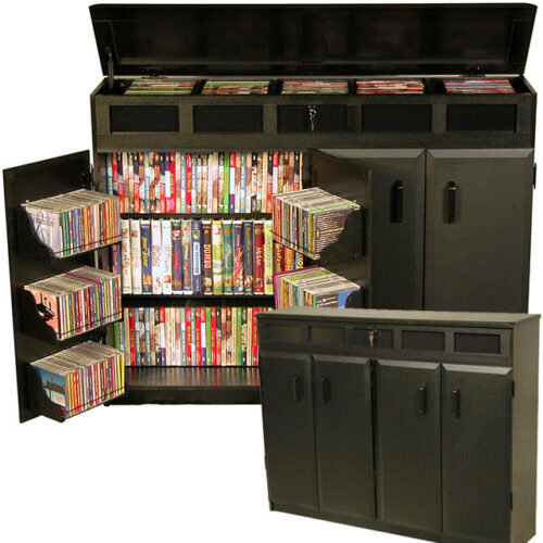 Black Top Load Media Cabinets 2362-21BL