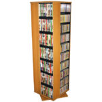 Oak Revolving Media Tower Large-1100