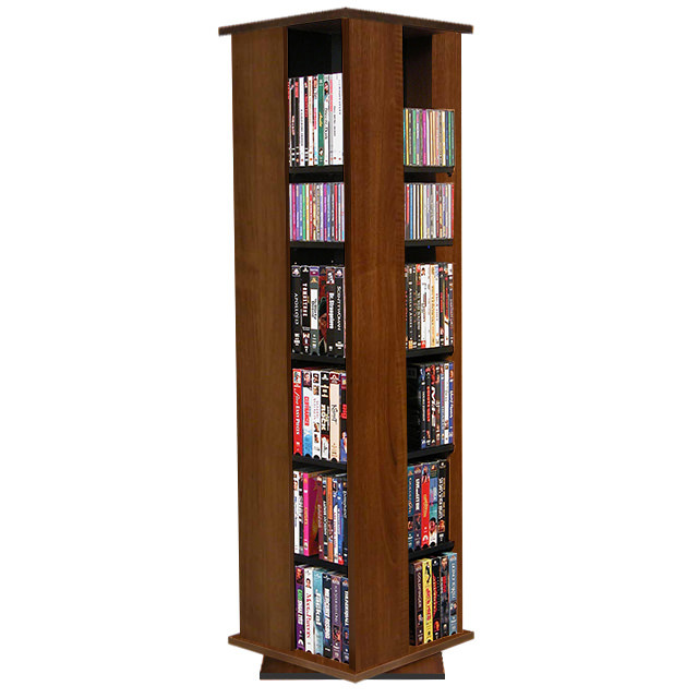 Walnut Revolving Media Tower Small-600