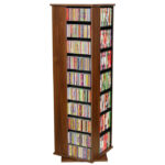 Walnut Revolving Media Tower Large-1100